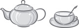 Gray cup and teapot