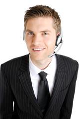 Caucasian customer service man operator smiling