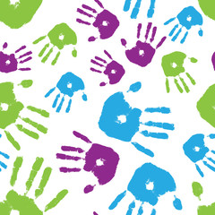 Colorful Handprint Seamless Tile