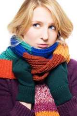 beauty young sick woman with scarf and gloves