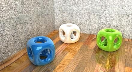 cubi colorati su legno