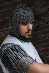 Brave knight looking at camera