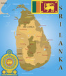 Sri Lanka map, flag and coat of arm.