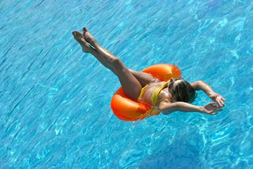 Girl on raft