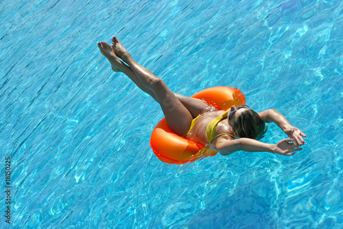 Girl on raft