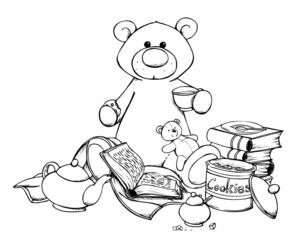 Tea Time, Bär, Kaffeetrinken, Ruhe, Gemütlichkeit, Bear