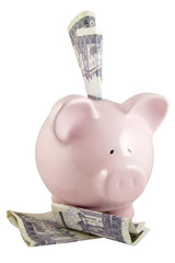 front view of child's piggy bank with cash on white background