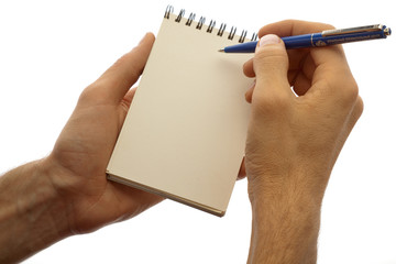Male hands holding pad and pen isolated on a white background