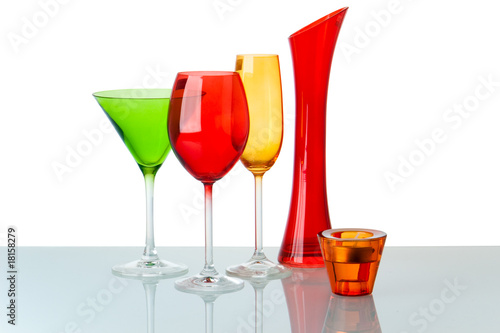 some glasses on white background. Clipping path.