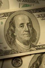 Close-up of Benjamin Franklin on the $100 bill