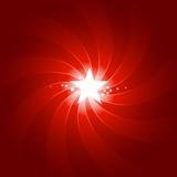 Vibrant red light burst with shining center star poster