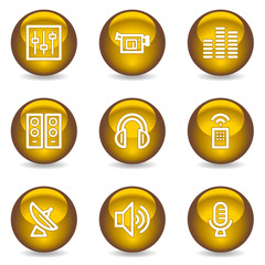 Media web icons, gold glossy series