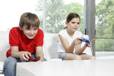 Children playing video games poster