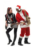 black santa claus with sax and a white girl with guitar