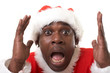 surprised black santa claus over white background