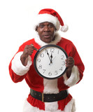 black santa claus holding a clock