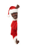 happy black santa claus holding an advertising sign