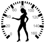 Speedometer with woman