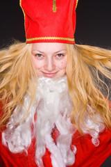 Weihnachtsfrau mit Bart
