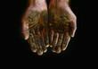 Mud on hands