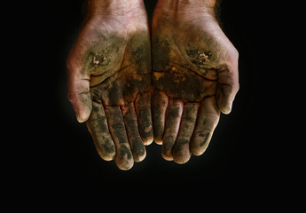 Mud on hands