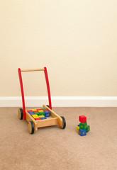 Childrens Wooden Brick Trolly