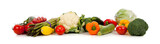 A row of vegetables on white