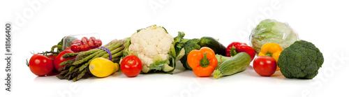 Fotobehang Groenten A row of vegetables on white