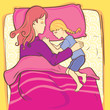 girl sleeping with her mother