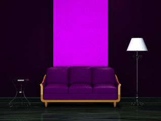 Purple couch with table and stand lamp in dark  interior