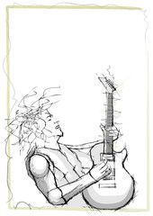 pencil sketching of guitarist