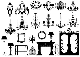Collection of editable vector furniture and lightings silhouette