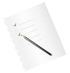 Checklist on paper, with pencil - vector