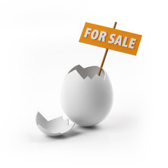 Egg for sale with clipping path