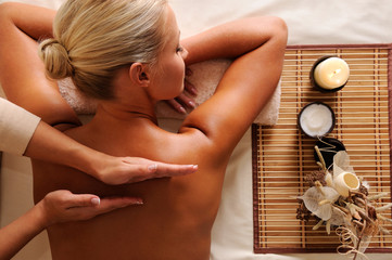 Woman getting  recreation massage