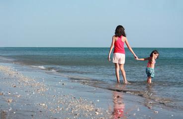 girls walking along the beach