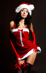 sexy girl dressed as Santa