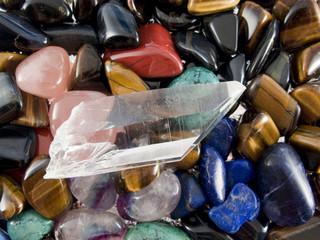 Semiprecious gemstones and quartz crystal