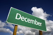 December Green Road Sign - Months of the Year Series.