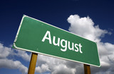 August Green Road Sign - Months of the Year Series. poster