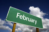 February Green Road Sign - Months of the Year Series. poster