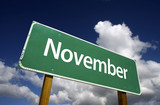 November Green Road Sign - Months of the Year Series. poster