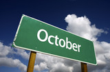 October Green Road Sign - Months of the Year Series. poster
