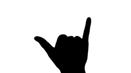 Hang loose sign in silhouette against white - HD