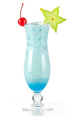 Blue tropical cocktail with coconut cream