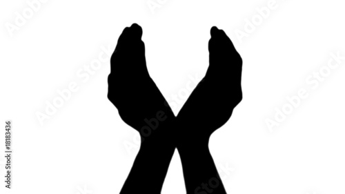Protecting hands in silhouette against white - HD