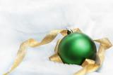 Christmas ornament on fluffy rug poster