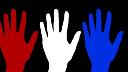 Hands in red white blue wave against black - HD