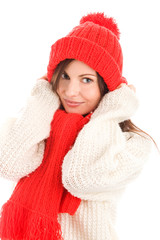 Pretty young woman wearing red scarf and cap