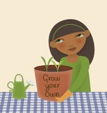 illustration of woman holding pot of plants she is growing
